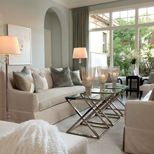 Example of a mid-sized classic carpeted living room design in Miami with blue walls