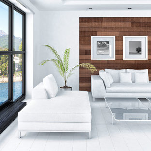Modern & Asian Inspired Living Room with Rustic Barn wood Accent Wall