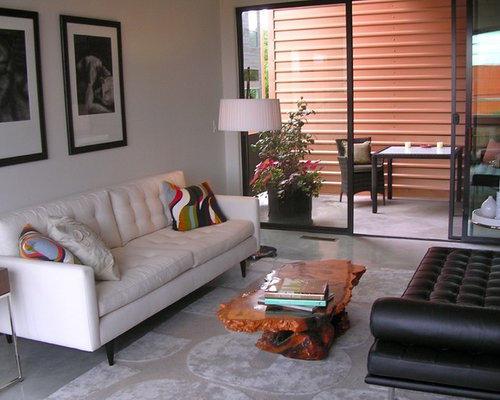 Minimalist Enclosed Concrete Floor Living Room Photo In Other