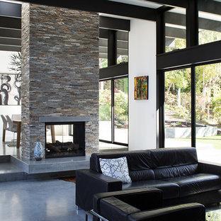 サンフランシスコのコンテンポラリースタイルのおしゃれなLDK (コンクリートの床、両方向型暖炉) の写真