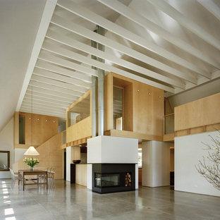 Esempio di un ampio soggiorno design con pavimento in cemento e nessuna TV