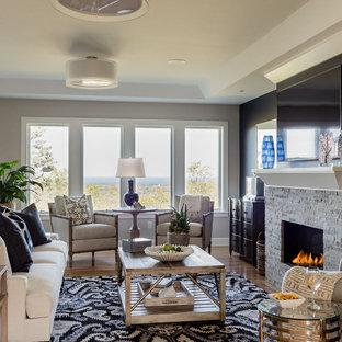 Living room - contemporary living room idea in Boston