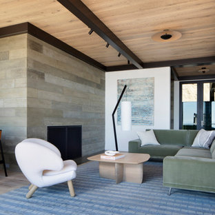 Inspiration for a modern living room in San Francisco with light hardwood floors, a corner fireplace and a concrete fireplace surround.