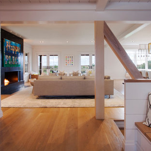 Inspiration for a beach style living room in Boston.