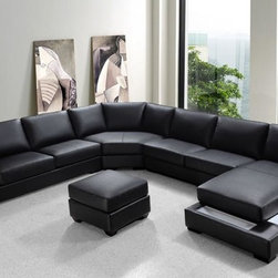 Modern Black Bonded Leather Sectional Sofa Set - Features: