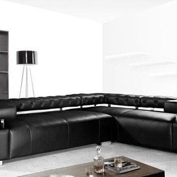 Modern Black Leather Sectional with Adjustable Backrests