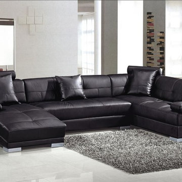 Modern Black Leather U Shape Sectional Sofa with Chaise