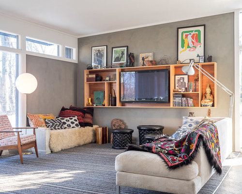 bohemian living room furniture. Modern carpeted living room idea in New York with gray walls and a media  wall Bohemian Living Room Houzz