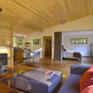 Пример оригинального дизайна: парадная, открытая гостиная комната среднего размера в стиле модернизм с бетонным полом, печью-буржуйкой, желтыми стенами, фасадом камина из металла и коричневым полом без ТВ
