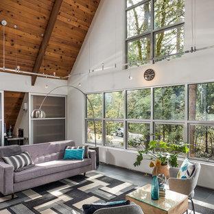 Ispirazione per un soggiorno industriale di medie dimensioni e stile loft con pareti bianche, pavimento in ardesia, camino bifacciale, cornice del camino in pietra e TV autoportante