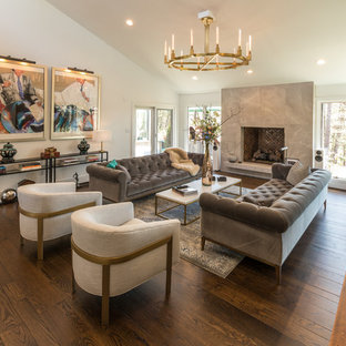 large transitional open concept and formal dark wood floor and brown floor living room photo with - Large Living Room