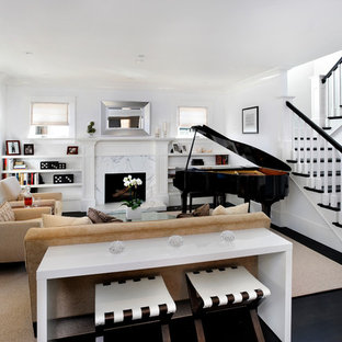 Inspiration for a contemporary living room remodel in San Francisco with a music area and white walls