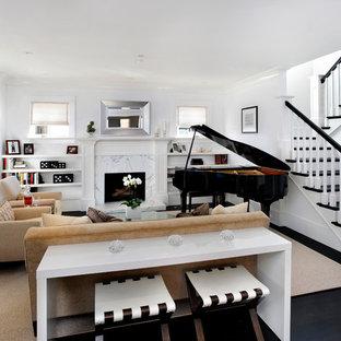 Modernes Musikzimmer mit weißer Wandfarbe in San Francisco