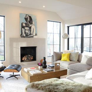 ニューヨークの広いコンテンポラリースタイルのおしゃれなLDK (グレーの壁、標準型暖炉、コンクリートの暖炉まわり、淡色無垢フローリング、ベージュの床) の写真