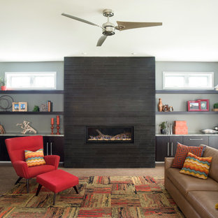 Foto di un soggiorno minimalista con camino lineare Ribbon e pareti grigie