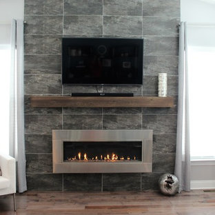 Example of a large minimalist enclosed medium tone wood floor living room design in Philadelphia with gray walls, a ribbon fireplace, a stone fireplace and a wall-mounted tv