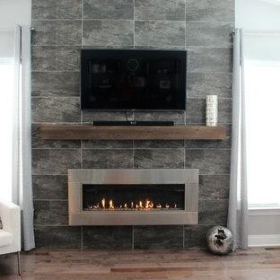 Ejemplo de salón cerrado, minimalista, grande, con paredes grises, suelo de madera en tonos medios, chimenea lineal, marco de chimenea de piedra y televisor colgado en la pared