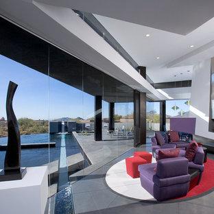 フェニックスの広いモダンスタイルのおしゃれなLDK (標準型暖炉、金属の暖炉まわり、フォーマル、白い壁、コンクリートの床、テレビなし、グレーの床) の写真