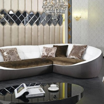 Modern Eco Leather and Fabric  Sectional Sofa