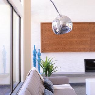 ダラスの中サイズのモダンスタイルのおしゃれなLDK (フォーマル、白い壁、コンクリートの床、横長型暖炉、タイルの暖炉まわり、内蔵型テレビ) の写真
