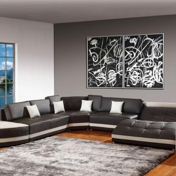 Modern Espresso Bonded Leather Sectional Sofa with White Accents