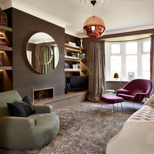 Small Trendy Formal And Enclosed Carpeted Living Room Photo In Other With  Brown Walls, A