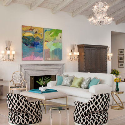 Living room - transitional open concept living room idea in Los Angeles with beige walls and a standard fireplace