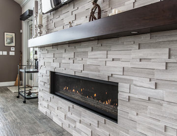 Modern Family Room with Lineal Fireplace