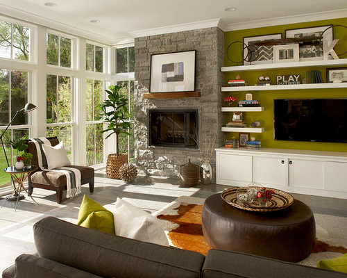 Inspiration For A Farmhouse Living Room Remodel In Chicago With Green Walls Stone Fireplace