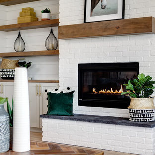 75 Beautiful Farmhouse Living Room With A Brick Fireplace Pictures Ideas March 2021 Houzz