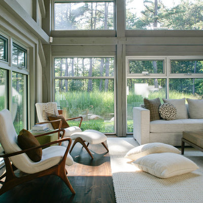 Inspiration for a mid-sized country dark wood floor living room remodel in New York with gray walls and no tv