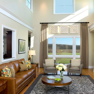 Inspiration for a mid-sized timeless formal and open concept carpeted living room remodel in Milwaukee with beige walls, a tile fireplace, a ribbon fireplace and no tv