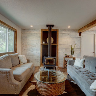 Modern Farmhouse Living Room with Fireplace and Barnwood Features
