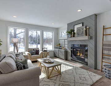 Modern Farmhouse Living Room with Shiplap Fireplace