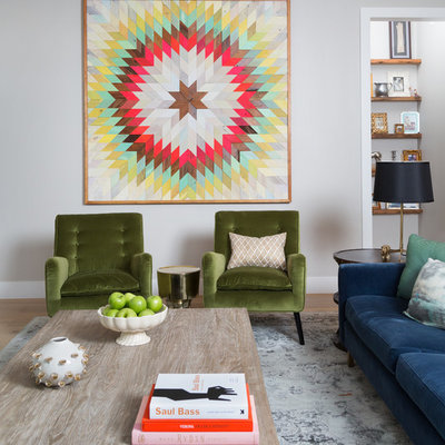 Living room - transitional living room idea in Austin with gray walls