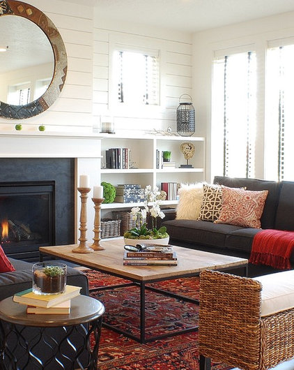 Farmhouse Living Room by Judith Balis Interiors