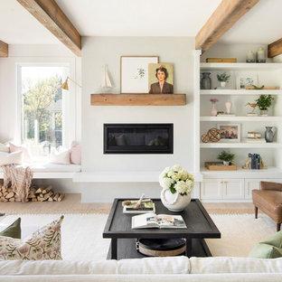 Ejemplo de salón para visitas campestre, sin televisor, con paredes blancas, suelo de madera clara, chimenea lineal y marco de chimenea de metal