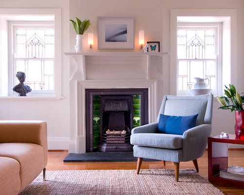 Classic Living Room In Sydney With Medium Hardwood Flooring A Standard Fireplace White Walls