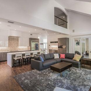 ジャクソンビルの大きいコンテンポラリースタイルのおしゃれなLDK (フォーマル、グレーの壁、磁器タイルの床、横長型暖炉、タイルの暖炉まわり、埋込式メディアウォール、茶色い床) の写真