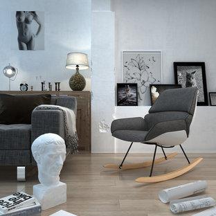 Esempio di un ampio soggiorno minimalista stile loft con libreria, pareti bianche, pavimento in compensato, camino classico e cornice del camino in metallo