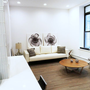 Inspiration for a small contemporary medium tone wood floor and brown floor living room remodel in New York