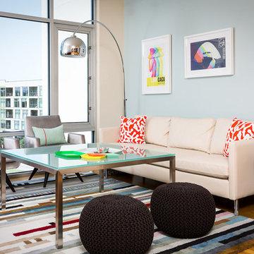 Modern Glamour Condo Living Room