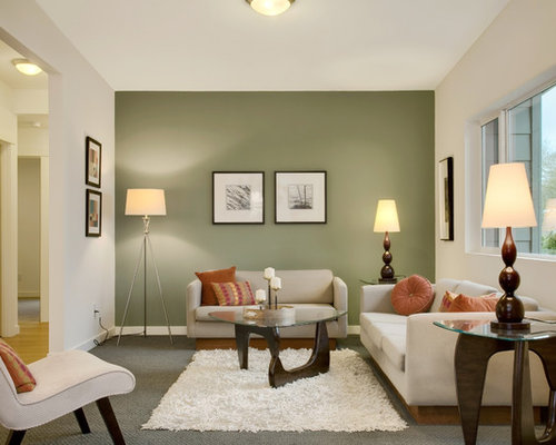 1,255 Transitional Living Room Design Photos With Green Walls