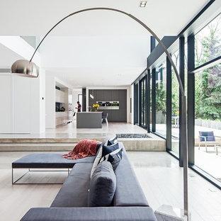 Inspiration for a scandinavian white floor living room remodel in Toronto