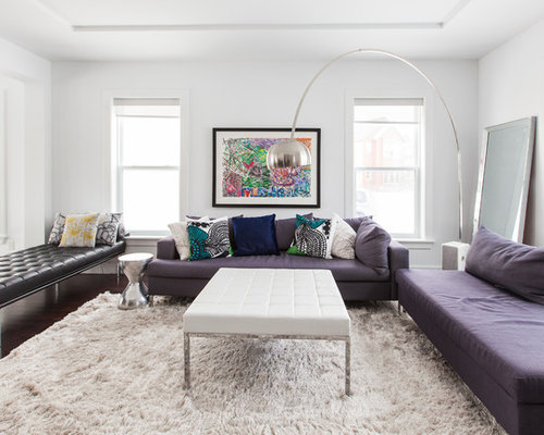 midsized trendy living room photo in other with white walls - Leather Daybed