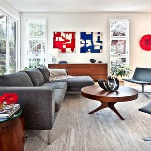 Foto di un grande soggiorno contemporaneo aperto con pareti bianche e parquet chiaro