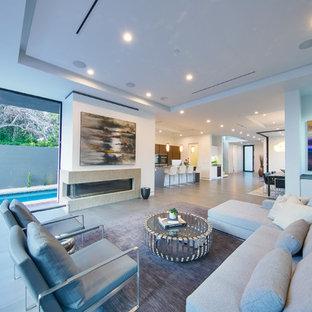 Immagine di un grande soggiorno minimalista aperto con sala formale, pareti bianche, pavimento in cemento, camino lineare Ribbon, cornice del camino in cemento, nessuna TV e pavimento grigio