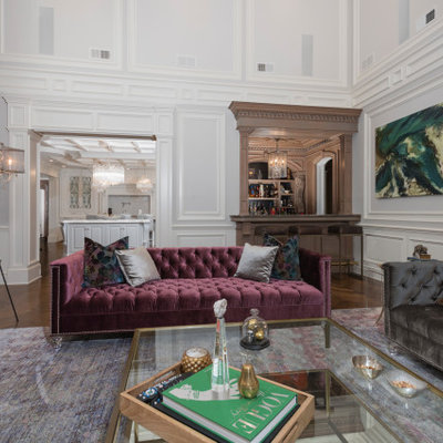 Living room - huge traditional formal and enclosed medium tone wood floor and brown floor living room idea in New York with white walls, no fireplace and no tv