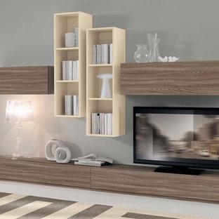 Modelo de salón minimalista con televisor independiente