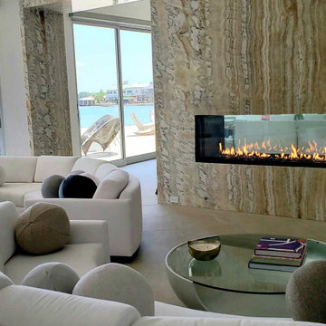Modern Lake Home Featuring Double Sided Gas Fireplace & Twin Outdoor Fireplaces